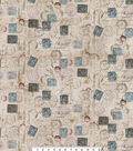 Novelty Cotton Fabric 45\u0022-Taupe Correspondence Stamps