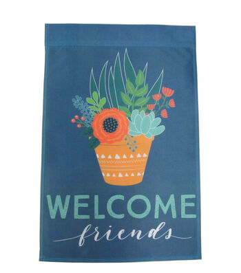 Hello Spring Gardening 12''x18'' Fabric Flag-Cactus & Welcome Friends