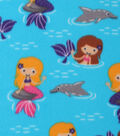Blizzard Fleece Fabric -Mermaids & Dolphins