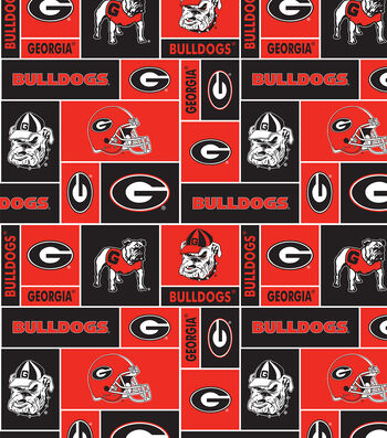 University of Georgia Bulldogs Fleece Fabric -Block