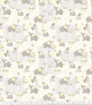 Nursery Flannel Fabric-Love Words Elephant