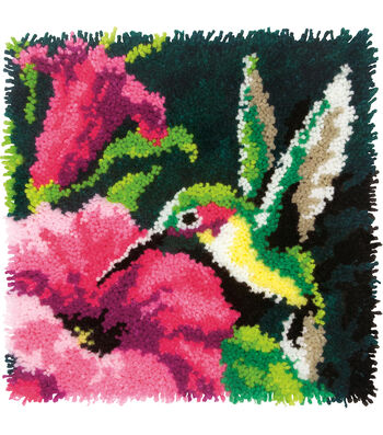 Bonarty DIY Latch Hook Kit Rug Making Crafts for Kids//Adults 16 inch X 16 inch Red Flower