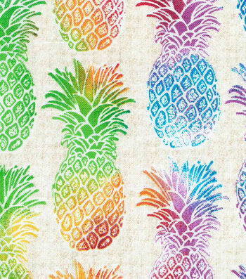 "Novelty Cotton Fabric 43""-Multi Pineapples"