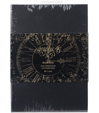 """Graphic 45 Staples Tag Album Book Box-Black 7.1""""X5""""X2.5"""""""