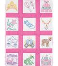 Themed Stamped White Quilt Blocks 9\u0022X9\u0022 12 Pack-Princess