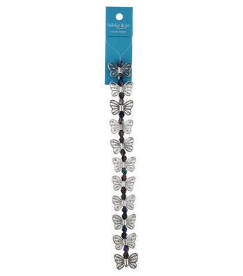 hildie & jo 7'' Butterfly Silver Strand-Blue Iridescent Beads