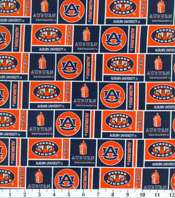 Auburn University Tigers Cotton Fabric -Herringbone