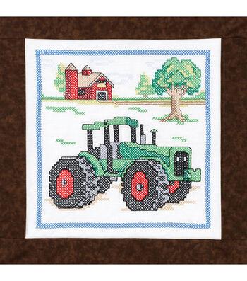Janlynn Stamped Cross Stitch Quilt Blocks Tractor