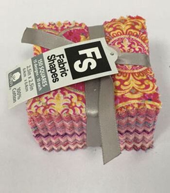 Mini Charm Cotton Fabric Pack 2.5''x2.5''-Pink