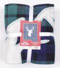 No Sew Fleece Throw 72\u0022-Stag Head On Plaid