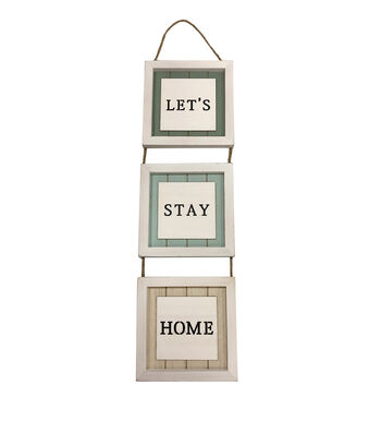 Simply Spring Framed Signs Wall Decor-Let's Stay Home