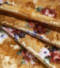 Stretch Panne Velour Fabric 58\u0022-Gold Vintage Floral