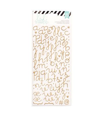 Heidi Swapp 81 Pack Glitter Puffy Alphabet Stickers-Gold