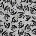 Halloween Spirit Mesh Fabric-Flocked Webs & Foil Skulls