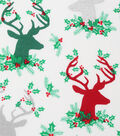 Christmas Cotton Fabric-Stag Head Hollies