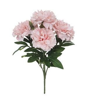 Handmade Holiday Christmas 21'' Water Resistant Peony Bush-Pink