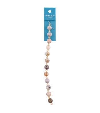 """hildie & jo 7"""" Round Agate Strung Beads-Brown"""