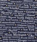 Patriotic Cotton Fabric 43\u0027\u0027-Metallic & State Names on Blue