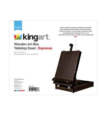 KINGART Wooden Art Box Tabletop Easel-Espresso