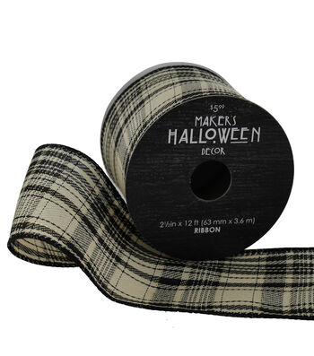 Maker's Halloween Ribbon 2.5'' x 12'-Black, Gold & Ivory Plaid