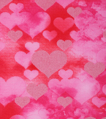 """Valentine's Day Cotton Fabric 43""""-Packed Hearts Pearlized"""