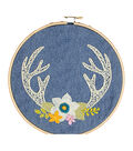 Needle Creations Embroidery Kit 6\u0022-Antlers Stamped On Denim Canvas