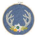 Needle Creations Embroidery Canvas Hoop Kit-Antlers Stamped on Denim