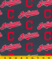 Cleveland Indians Cotton Fabric 58''-Logo, , hi-res