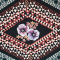 Silky Stretch Satin Textured Fabric-Rust Diamond & Floral on Black