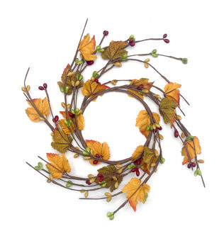 Blooming Autumn Pepper Berry & Maple Leaf Mini Wreath-Yellow