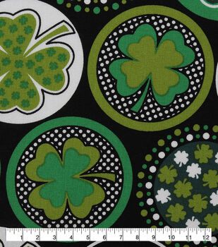 St. Patrick's Day Fabric -Black with Shamrocks & Dots
