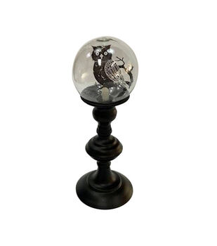 Maker's Halloween Small LED Globe Decor with Owl-Black