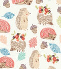 Snuggle Flannel Fabric-Sleeping Hedgehogs & Natural