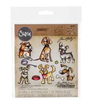 Sizzix Framelits Tim Holtz Alterations 23 pk Dies-Crazy Dogs