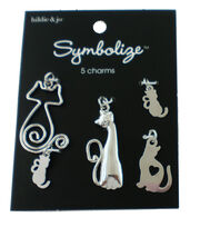 hildie & jo Symbolize 5 pk Cat Charms-Silver, , hi-res