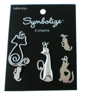hildie & jo Symbolize 5 pk Cat Charms-Silver