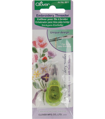 Clover Needle Threader For Embroidery Needles-Apple Grn