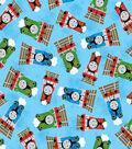 Thomas The Tank Engine Cotton Fabric -Friends Toss on Blue