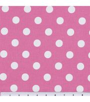 Keepsake Calico Cotton Fabric 44''-Large Dots on Rose Pink, , hi-res
