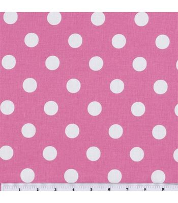 Keepsake Calico Cotton Fabric 44''-Large Dots on Rose Pink