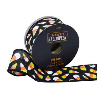 Maker's Halloween Decor Ribbon 1.5''x12'-Candy Corn on Black