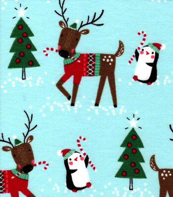 Christmas Snuggle Flannel Fabric -Reindeer in Sweaters