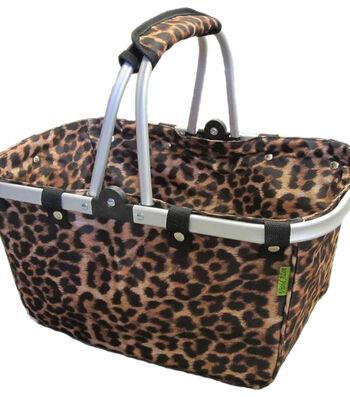 """JanetBasket Large Aluminum Frame Basket 18""""X10""""X9.5""""-Leopard"""