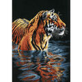 Dimensions 9\u0022x14\u0022 Counted Cross Stitch-Tiger Chilling Out
