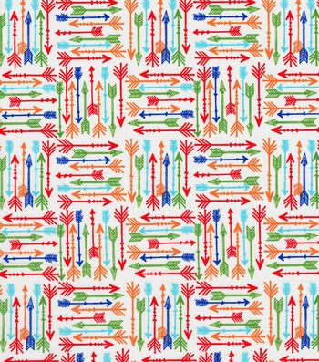 Quilter's Showcase Cotton Fabric -Bright Arrows on White