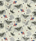 Patriotic Cotton Fabric-Eagles in Flight on Parchment