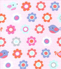 Snuggle Flannel Fabric-Flowers & Birds on Light Pink