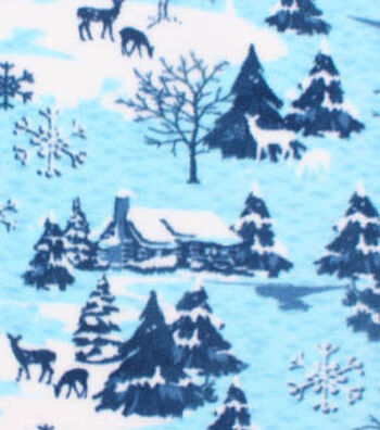 "3 Yard Pre-Cut Anti-Pill Fleece Fabric 61""-Deer Blue Holiday"