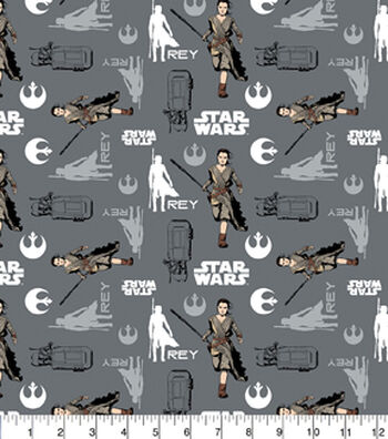 Star Wars Cotton Fabric -Rey in Iron