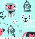 Snuggle Flannel Fabric-Playful Pups on Aqua
